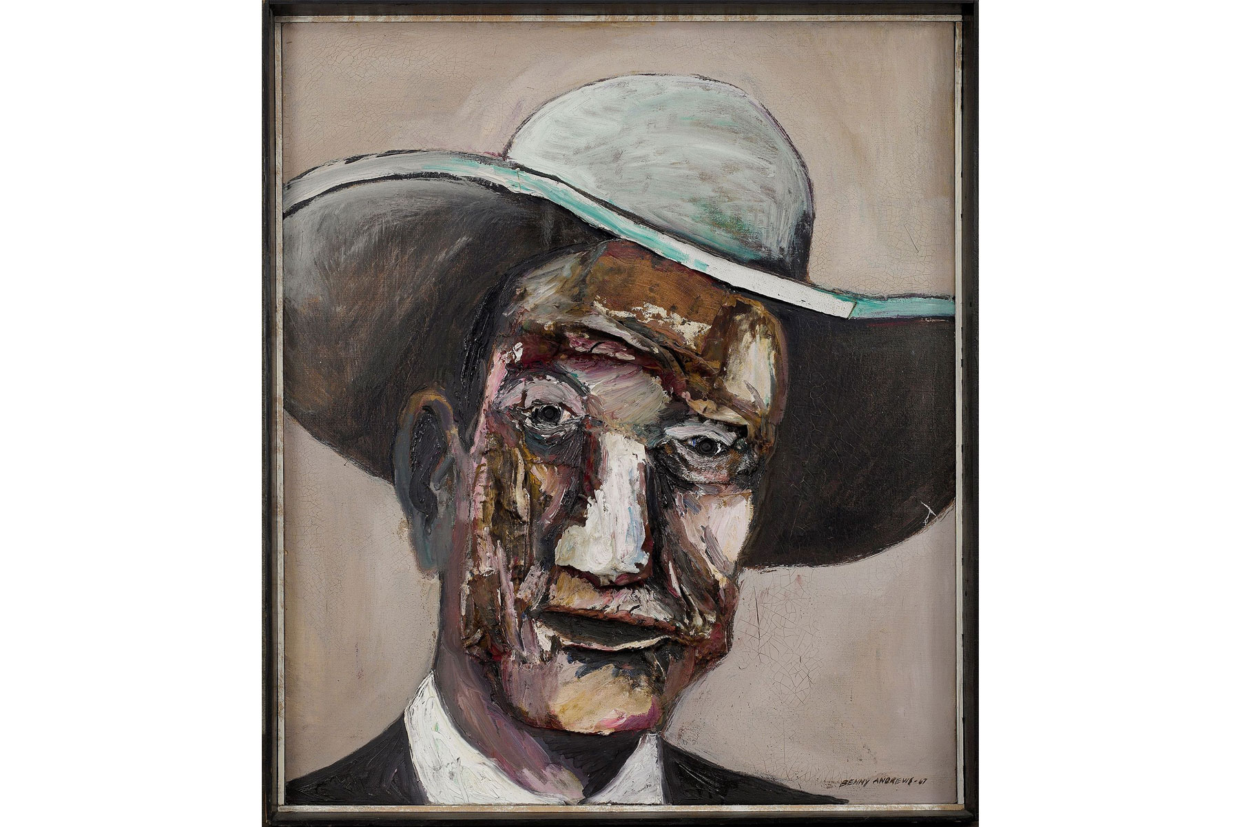 Benny Andrews (American, 1930–2006) Mr. AmericaOil on canvasBeth Rudin DeWoody Collection© Estate of Benny Andrews/Licensed by VAGA, New York, NY