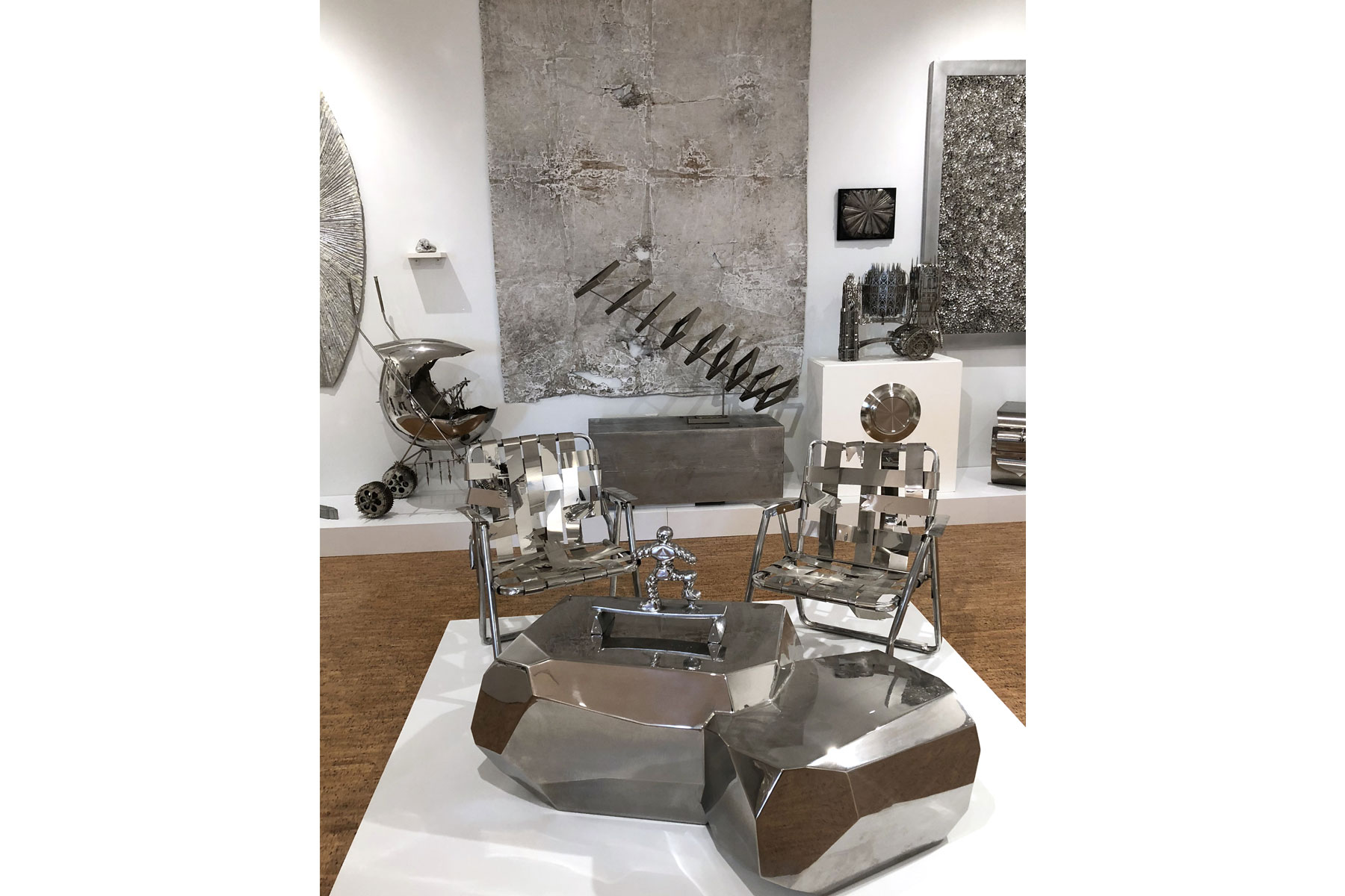 Photograph of a silver-themed artwork installation at The Bunker Artspace, Palm Beach, Florida.