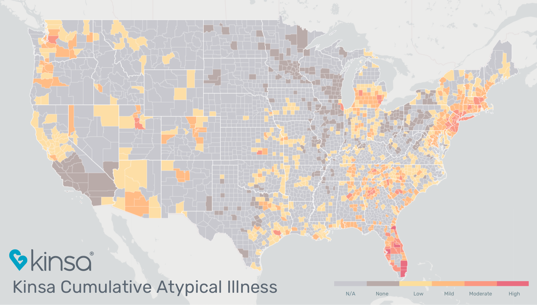 Map showing how much influenza-like illness above the normal expected levels have been detected, in the U.S., since March 1. The map color-codes to show areas with many cases (red), moderate cases (dark orange), mild (light orange) and low (yellow). The m