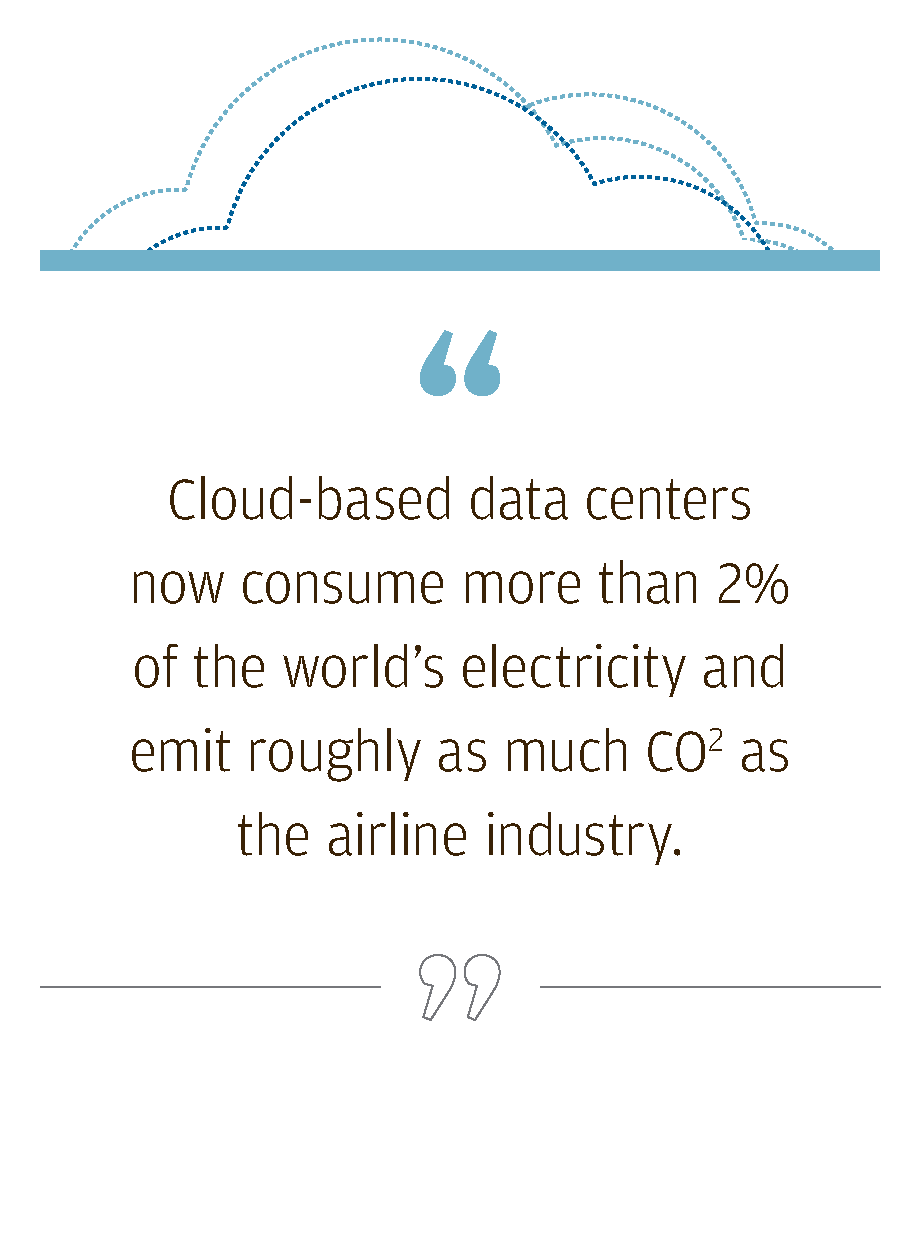 Cloud-based data centers now consume more than 2% of the world's electricity and emit roughly as much CO2 as the airline industry.