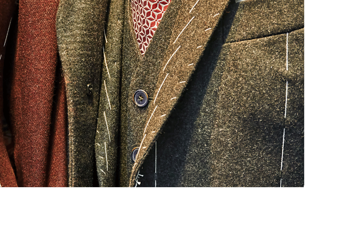 Close up photo of tailored suit jacket