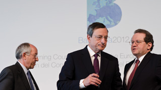 Mario Draghi at the press conference following the Governing Council meeting of the ECB on May 3rd 2012 in Barcelona, Spain