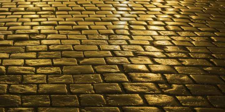 Cobblestones lit by golden light