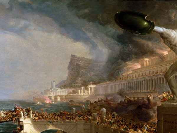 """The Course of Empire–Destruction"" by Thomas Cole. A classical painting showing the destruction of an ancient empire."