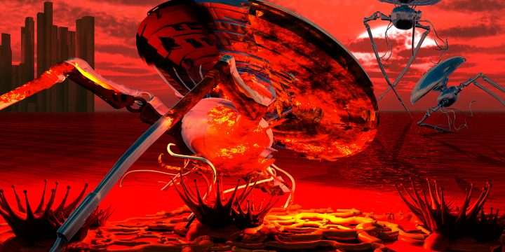 "Picture of an alien spacecraft from H.G. Wells' ""The War of the Worlds""."