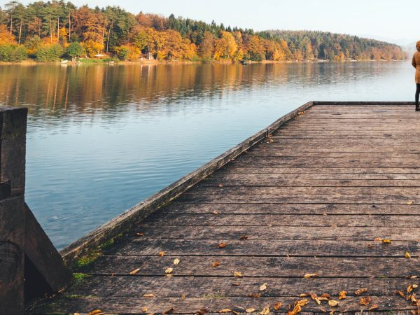 A woman standing out on a jetty overlooking a lake surrounded by an autumn forest.