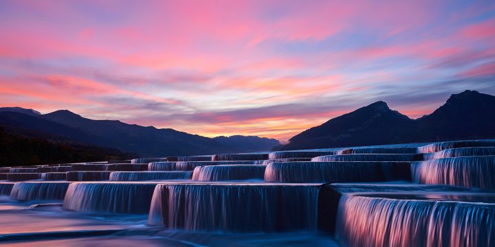 Cascading waterfalls at sunset