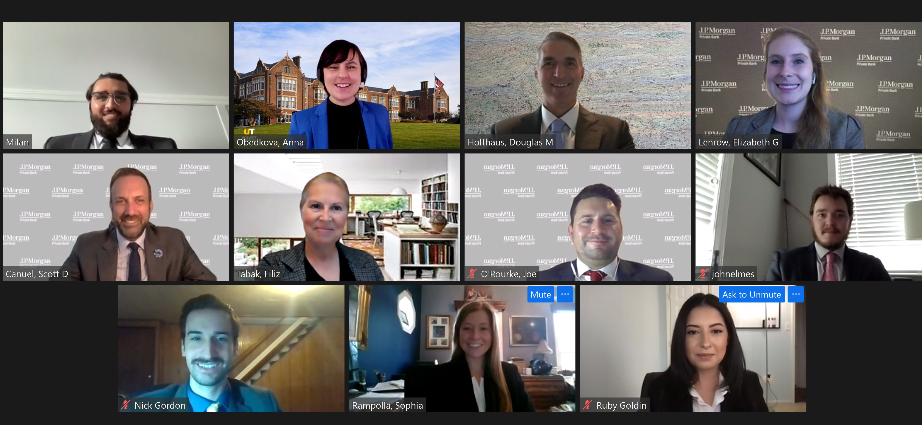 Image of several people from J.P. Morgan and Towson University on a Zoom call.